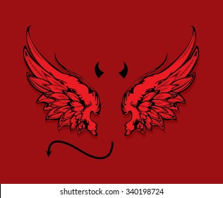 Red wings isolated on red background