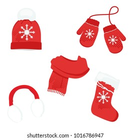 Red winter clothes with snowflake. Knitted hat, christmas sock, ear muffs scarf and mittens. Vector icon set