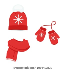 Red winter clothes with snowflake. Knitted hat, scarf and mittens. Vector icon set