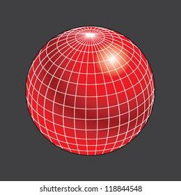 Red Wireframe Globe