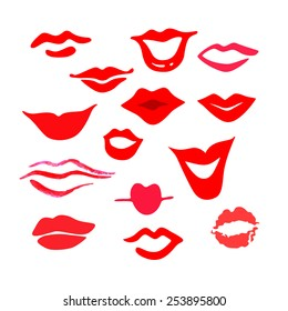 Red woman's lips set. Vector smile and kisses mouths silhouettes.