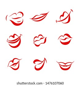 Red Women Lips on White Background. Illustration Set of Doodle Womans Lips Expressing Different Emotions. Smile, Kiss, Half-Open. Isolated on White Background