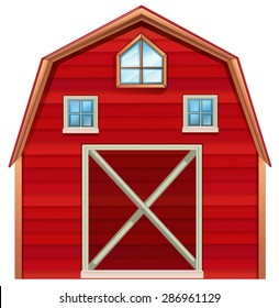 Red wooden barn on a white background