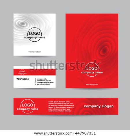 Red wooden corporate set of business card, cover, and banner. Abstract vector background for company branding with wooden texture.