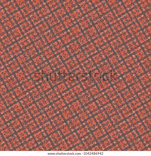 Red wool fabric with a cross striped pattern. Rough plaid cloth background. Vector design.