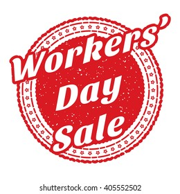 Red Workers' Day Sale grunge rubber stamp filled with a red circle in the center. Sticker with Workers' Day Sale text. Isolated on white background with Workers' Day Sale on the foreground. Vector
