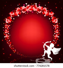 red wreath of hearts on a black background with glitter and cupidon with onions