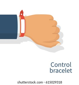 red wristband on hand man blank rubber bracelet use for advertising promotion control