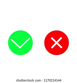 red X and green OK, icon, vector illustration isolated on white background.