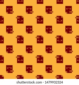 Red XML file document. Download xml button icon isolated seamless pattern on brown background. XML file symbol.  Vector Illustration