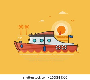 Red yacht tourist boat on seaside background. Motor boat excursion or summer holidays concept scene. Sport ship vector illustration in flat design. Modern speedboat by sunset as sea vacation metaphor.