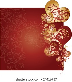 A red and yellow background vector texture illustration adorned with golden hearts and intricate arabesques
