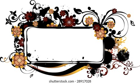 Red, yellow and black grunge frame with splotches of dark ornaments