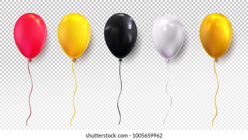 Red, yellow, black, white and glossy golden balloon. Glossy realistic balloon for Birthday party. For your design and business. Vector illustration. Isolated on transparent background