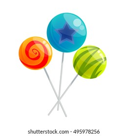 Red, yellow, blue and green lollypops, cartoon vector illustration isolated on white background. Three sweet candy.