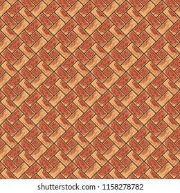 Red and yellow brick spiral diagonal texture with attrition seamless pattern