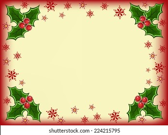 red yellow christmas greeting card with green and red christmas holly