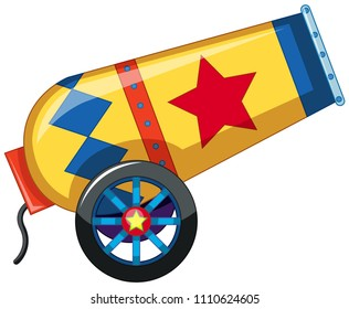 Red and yellow circus confetti canon illustration