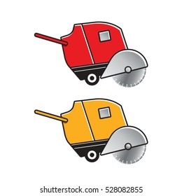 red & yellow concrete cutting machine-vector drawing