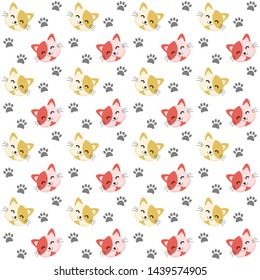 red and yellow cute cat icon seamless patttern