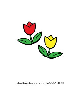 Red and yellow doodle tulips. Hand-drawn flowers for decoration of cards, backgrounds, holidays, logo, web.