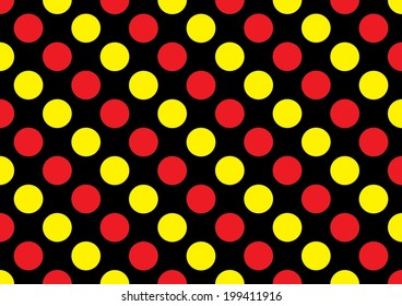Red and Yellow Dots on a Black Background. Vector
