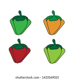 Red and yellow fresh cartoon bell peppers vegetables