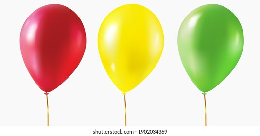Red, yellow, green balloons in a realistic style isolated on white background. Ballons templates for birhdays, weddindgs, holidays. Vector.