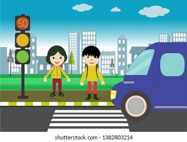 red, yellow and green light. traffic education. traffic rules for children. Traffic signs. children using pedestrian crossing.
