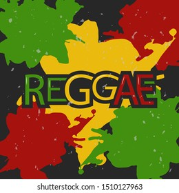 Red, yellow and green and Reggae background. Reggae Vector design logo. Happy Rasta. Vintage music labels.