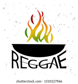 Red, yellow and green and Reggae fire. Reggae Vector design logo. Happy Rasta. Vintage music labels.