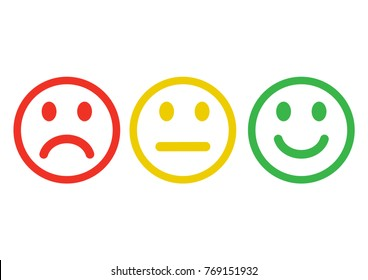 Red, yellow, green smile face icons with negative, neutral and positive mood. Outline design. Vector illustration