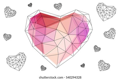 Red, yellow heart isolated on white background. Geometric rumpled triangular low poly origami style gradient graphic illustration. Vector polygonal design for your business.