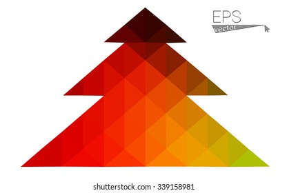 Red, yellow low polygon style christmas tree vector illustration consisting of triangles.Abstract triangular polygonal origami or crystal design of New Years celebration. Isolated on white background.