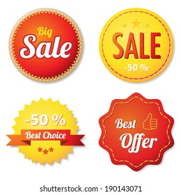 Red and yellow offer labels