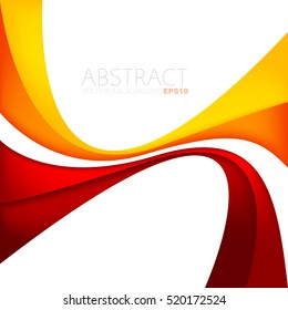 Red and yellow orange curve line vector background on white space with red and yellow orange overlap paper layer and green curve line for text and message design