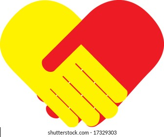 red and yellow palms handshake heart shaped. vector illustration