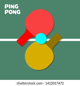 Red and yellow ping pong racquets with blue ball. A pair of racquets at tennis table background. Table tennis game equipment. Isolated vector illustration