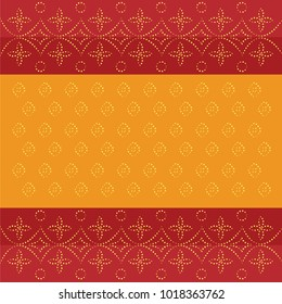Red and yellow traditional dotted bandhani bandhej Indian pattern design. Ideal for fabric, print, sari, background, backdrop, cover.