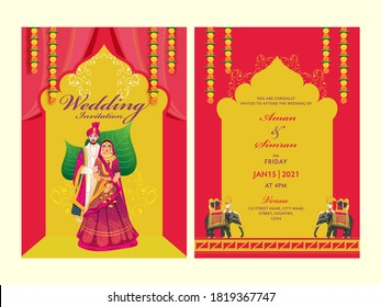 Red and Yellow Wedding Invitation Card Set with Indian Couple Image and Venue Details.