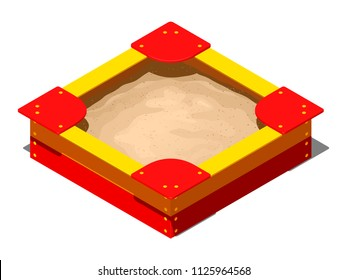 Red and yellow wooden children's sandbox with bows, seats on the corners and a pile of sand for games, isometric vector illustration on   a white background with a shadow
