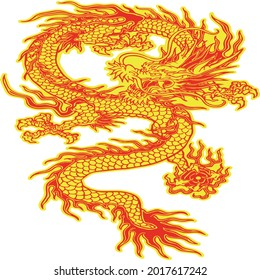 Red and yellow wyrm dragon illustration, Chinese dragon Korean dragon Illustration