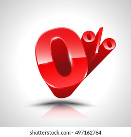 Red zero percent or 0 % isolated over white background with reflection. Vector illustration 3D style.