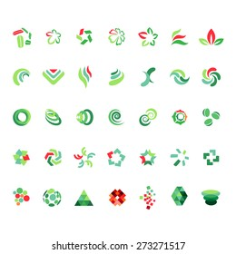 Red-and-green different abstract trendy symbols on white