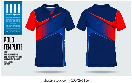 51cd4602606 Red-Blue Polo t shirt sport design template for soccer jersey, football kit  or