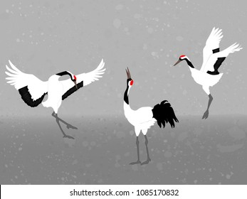 Red-crowned cranes on gray background, vector illustration