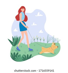 Reddish girl in blue clothes walks outside with her sweet dog. Light and gentle color gamma. Completed flat vector illustration.
