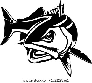 Reddrum Logo, A Unique Redfish vector move on the water.