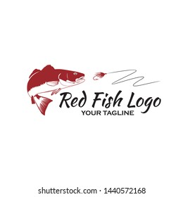 Redfish with fly fishing logo vector