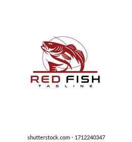 Redfish logo design. Awesome redfish logo. Redfish logotype.